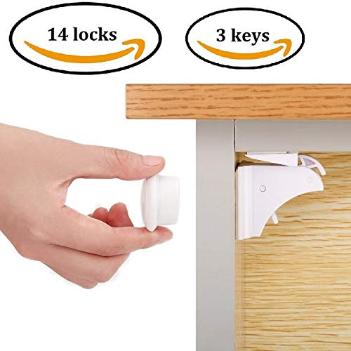 Magnetic Child Safety Cabinet Locks (14 Locks + 3 Keys),Baby Proofing Cabinets Lock and Drawers Latch,Protectors for Furniture Against Sharp Corners (8 Pack) | 3M Adhesive