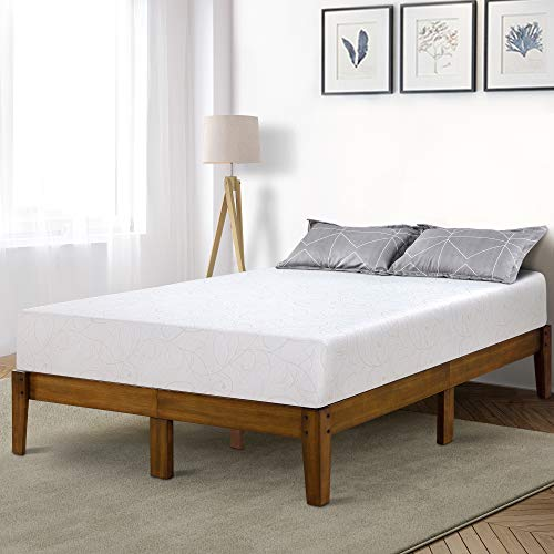 (PrimaSleep PR14SF03F 14 Inch Solid Wood Platform Bed Frame/Anti-Slip Support/No Box Spring Needed/Easy to Set, Full, Light Brown)