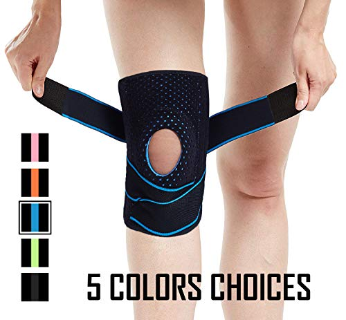 Venture Pal Knee Brace Non-Slip Open-Patella Brace with Adjustable Strap & Side Stabilizers – Best Knee Support for Joint Pain Relief,Meniscus Tear,Arthritisand and Injury Recovery