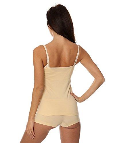 BRUBECK® 3x Set CM00210A COMFORT COTTON CAMISOLE Damen Unterhemd | Air Jet Gewebe | Baumwolle/Polyamid | Unterwäsche | Sport Funktionswäsche | Spaghettiträger-Top , Größe:XL;Farbe:beige