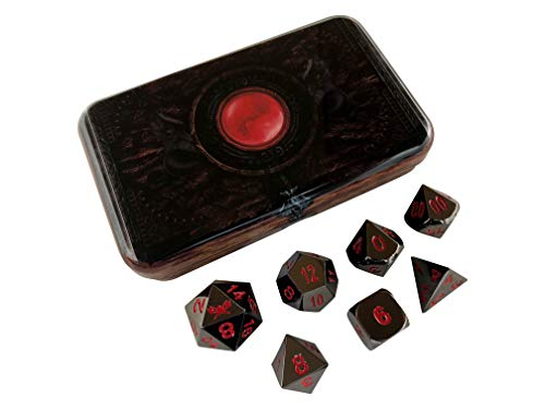 Skull Splitter Dice- Warlock Tome with Smoke and Fire | Shiny Black Nickel with Red Numbers- Solid Metal Polyhedral Role Playing Game (RPG) Dice Set (7 Die in Pack) with Box