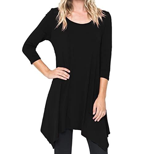 New Fanfly 3/4 Sleeve Flowy T-Shirts Womens Loose Swing Tunic Tops for cheap