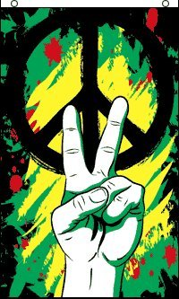 HUGE Rasta Peace Grafitti Banner Flag, 5 Feet Tall! Bob Marley Poster Flag