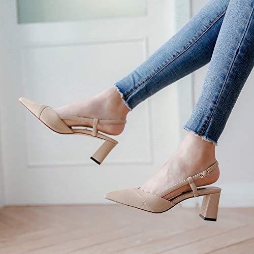 Color con Nude Juego Tacones Salvaje Únicos Grueso A Femenino De Altos tacón Otoño con alto Salvaje Zapatos Acentuado Desnudos Yukun zapatos de 1PxqTwHvn