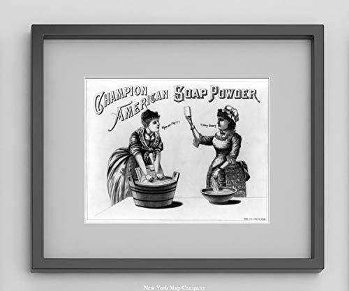 New York Map Company  1887 Advertisement for Champion American Soap Powder Showing 2 Women Washing Clothing in tub with Washboard|9x12 Ready to Frame