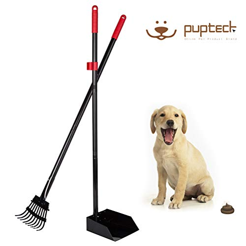 PUPTECK Pet Poop Tray and Rake - Long Handle Pooper Scooper - Clean Response Dog Waste Bin & Rake