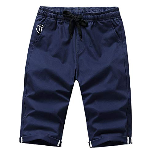 PENGY Fashion Men Summer Solid Trunks Board Beach Elastic Waist Casual Short Pants Trousers Leisure Dark Blue ()