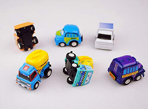 DeepLittleFish heytech Pull Back Cars for Toddlers 6 Pack Mini Pull Back and Go Car Toy Play Set Include City car Fire Truck Engineering Vehicle (6 Pack)