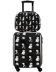 DAVIDJONES 2 Piece Hardside Upright Spinner Luggage Set