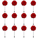 RareLove 12pcs Red Lapel Pin Rose Wedding Boutonniere Set for Men Flower