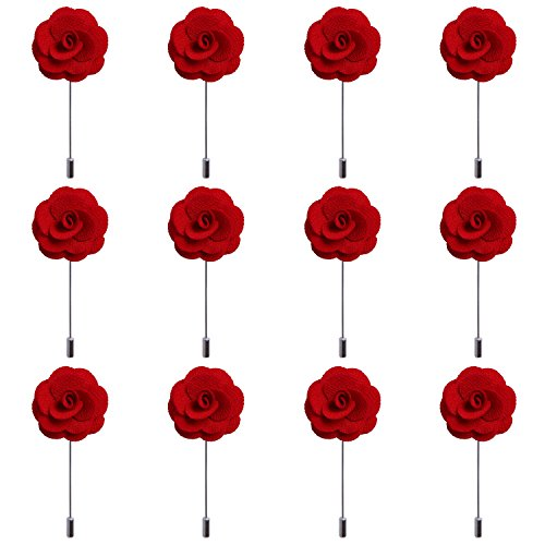 RareLove 12pcs Red Lapel Pin Rose Wedding Boutonniere Set For Men Flower by RareLove