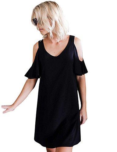 PU&PU Robe Aux femmes Gaine Simple,Couleur Pleine Col en V Au dessus du genou Polyester , black-m , black-m