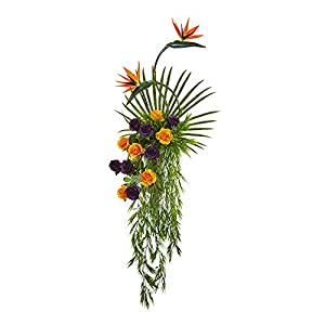 Nearly Natural 1996 60in. Rose, Bird of Paradise and Fan Palm Artificial Urn Silk Arrangements, Purple/Orange 45