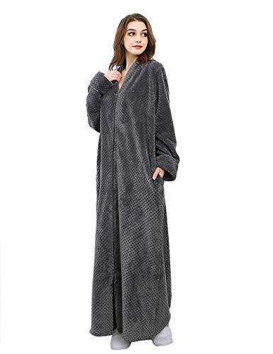 (Women's Zip Front Bathrobe Premium Flannel Fleece Plush Caftan Soft Long Robe Warm Housecoat, Grey-L)