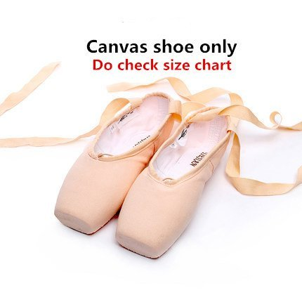 Labu Store Canvas Pointe Shoes With Ribbon And Gel Toe Pad Girls Women's Pink Professional Ballet Dance Pointe Toe Shoes