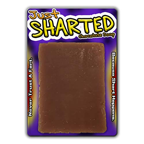 Just Sharted Chocolate Soap Novelty Bath Bar Soap Funny Unisex Spa for Women Men Chocolate Gags for Friends Family Secret Santa White Elephant Stocking Stuffers Teens Adults Fart Joke Gag]()