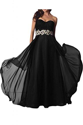Toscana novia elegante en forma de corazón duro por la noche vestidos de gasa estrella Prom vestidos de fiesta de fútbol de largo por la noche de la moda negro