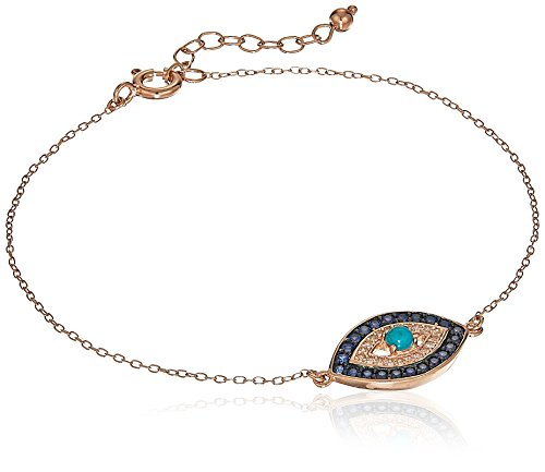 14K Rose Gold Plated Sterling Silver Genuine Turquoise and Created Sapphire Evil Eye Bracelet, 7.25