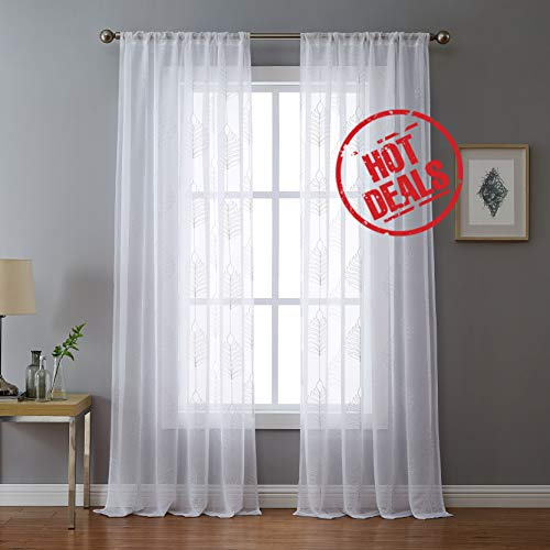 Leaf Embroidery White Sheer Curtains 84