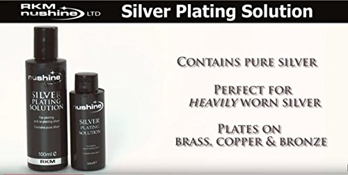 Nushine Silver Plating Solution 3.4 Oz - permanently plate PURE SILVER onto worn silver, brass, copper and bronze (Ecofriendly formula)