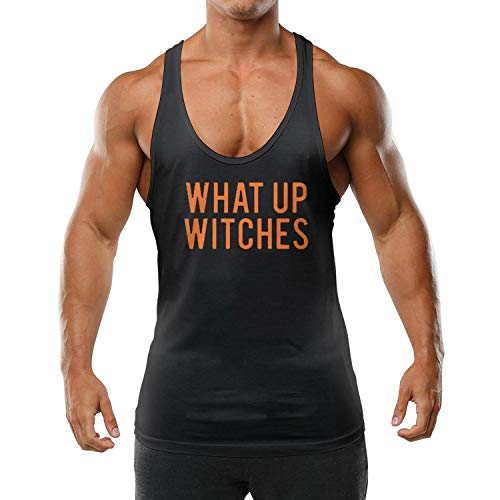 Funny Young Men Vest Pullover What Up Witches HALLOWEENblack ComfortSoft T-Shirts -