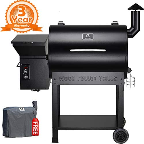 Z Grills ZPG-7002B 2019 New Model Wood Pellet Grill Smoker, 8 in 1 BBQ Grill Auto Temperature Controls, 700 sq inch Cooking Area, Black