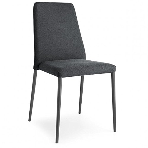 Calligaris Fabric Chair - Beautiful Gray fabric with matt gray metal legs chair