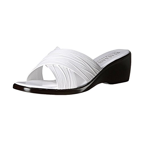 White Italian Shoes (ITALIAN Shoemakers Women's 168m Wedge Sandal (6, White))