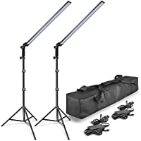 EMART 2x30W Photography LED Video Light Wand 5600K Ice Light Photo Lighting Kit for Camera Photo Studio Shooting,Youtube, Professional LED Continuous Light with Tripod Stand