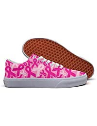 Pink Ribbon Low Top Canvas Sneakers Skateboard Shoes Slip...