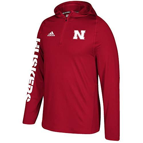 adidas Nebraska Cornhuskers NCAA Men's Red Sideline 1/4 Zip Training Hoodie