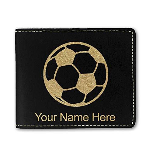 (Faux Leather Wallet, Soccer Ball, Personalized Engraving Included (Black))