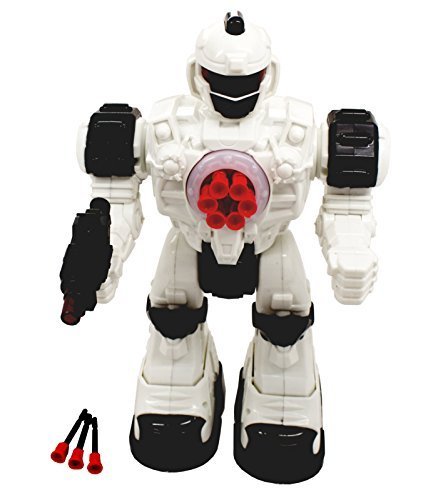 TECHEGE  Toys Steel Wolf Remote Controlled Robot, Shoots Rubber Missiles Awesome Sounds, Fun Lights Kids RC Robot Battery Powered Walking Futuristic Soldier ()