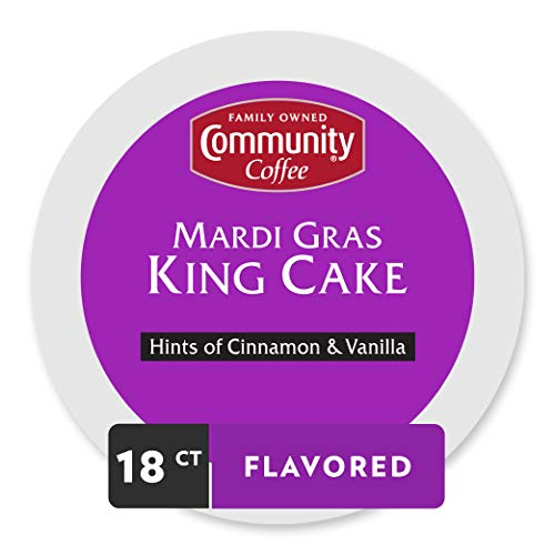 Community Coffee Mardi Gras King Cake Flavored Medium Roast Single Serve 18 Ct Box, Compatible with Keurig 2.0 K Cup Brewers, Medium Full Body Hints of Cinnamon and Vanilla, 100% Arabica Coffee Beans
