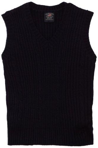 U.S. Polo Association School Uniform Big Boys' Cable Front Sweater Vest, Navy, 14/16 -