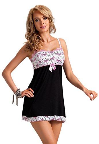 Donna viscosa tierna de rayas marineras NEGLIGEE Sleep Camiseta con bonitas adornos en gran caja de regalo negro / rosa