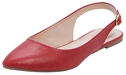 Pointed Slingback - Cambridge Select Women's Closed Pointed Toe Buckled Slingback Flat,7.5 B(M) US,Red PU
