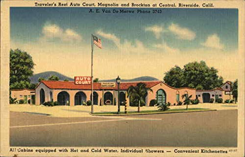 (Traveler's Rest Auto Court, Magnolia and Brockton at Central Riverside, California Original Vintage Postcard)