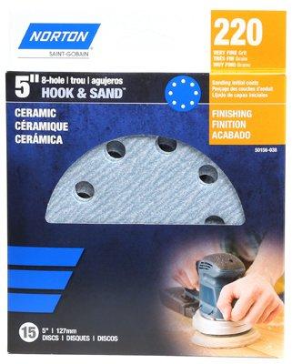 Price comparison product image Ali Industries 50156-038 5 in. 220 Grit 8 Hole Hook & Loop Ceramic Sanding Discs - 15 Pack