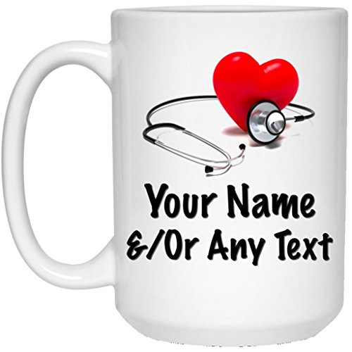 Custom Personalized Heart and Stethoscope Coffee Mug Nurse Mug Doctor Mug 15 oz Ceramic Cup Great for Hot Chocolate and Tea Perfect Gift for any Nurse Doctor or Anyone in the Medical Field