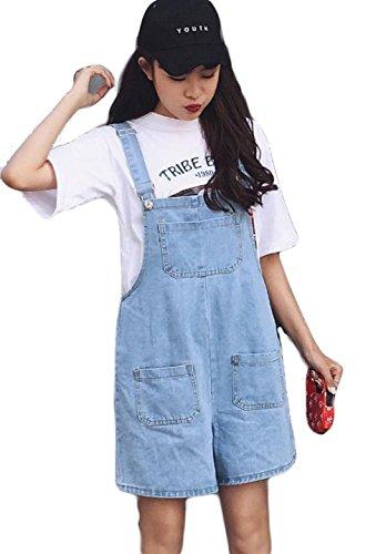 病者アクセス故意にBeiBang(バイバン)レディース ショートパンツ ゆったり デニム サロペット カジュアル かわいい デニム 短パンオーバーオール オシャレ 韓国ファッション