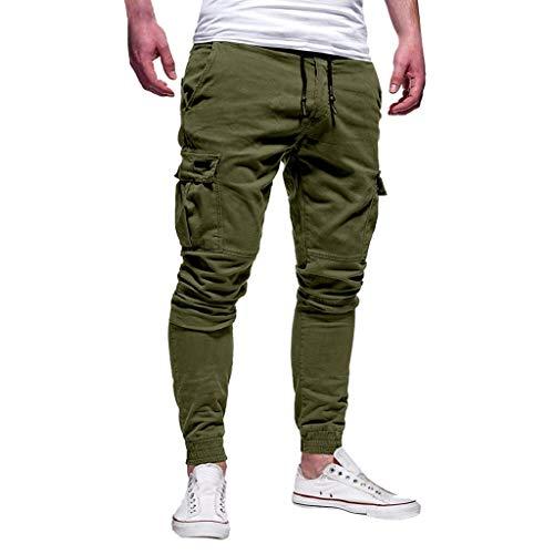 Creazrise Men's Athletics Pocket Chino Cargo Pant Elastic Waist Trousers Jogger Pants (Khaki,XXL)