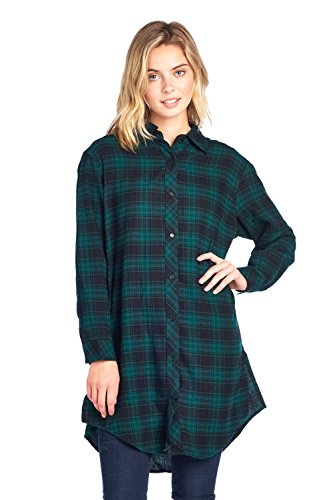 ICONICC Women's Plaid Oversize Button Down Top with Side Pocket (K1003_GRN_M)