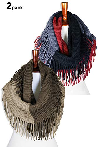 Basico Women Winter Warm Knit Infinity Scarf Tassels Soft Shawl Various Colors (2pk Black/Red & Beige),One Size