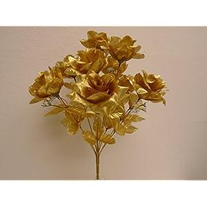 "Open Rose Bush 12 Artificial Silk Flowers 18"" Bouquet 3432 35"