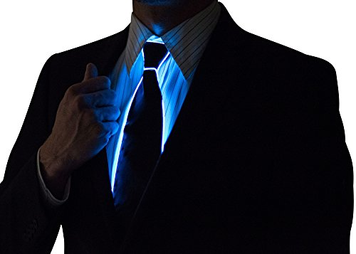[Neon Nightlife Light Up Neck Tie for Men, Blue] (Neon Party Outfits)