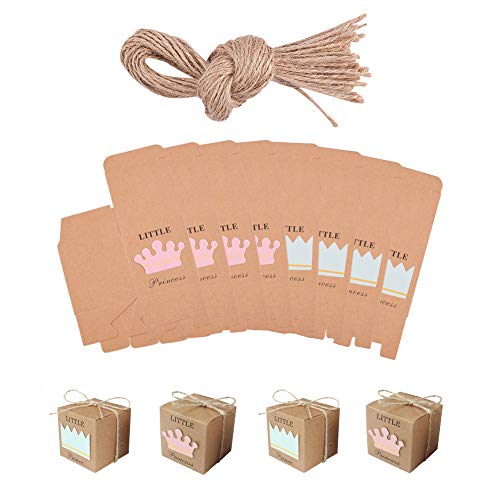 PH PandaHall 24sets Kraft Gift Boxes Princess&Prince Wedding Favor Boxes Candy Boxes with Hemp Rope 2x2x2 inch Baby Shower Favor Boxes Party Supplies