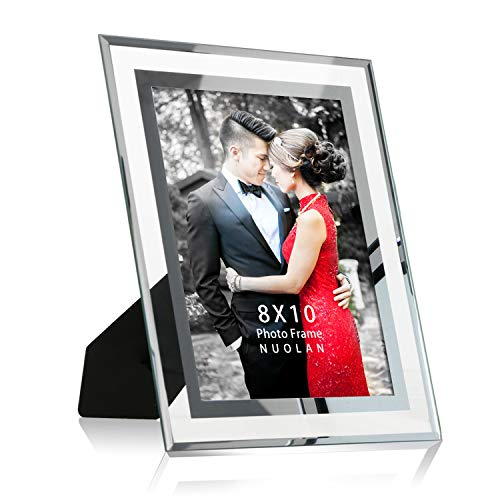 NUOLAN 8x10 Picture Frame Desk Glass Mirror Photo Frames, Nice Gift for Family & - Picture Wedding Glass Frame