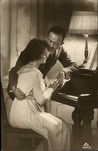 Couple in Formal Attire at Piano Other Original Vintage Postcard