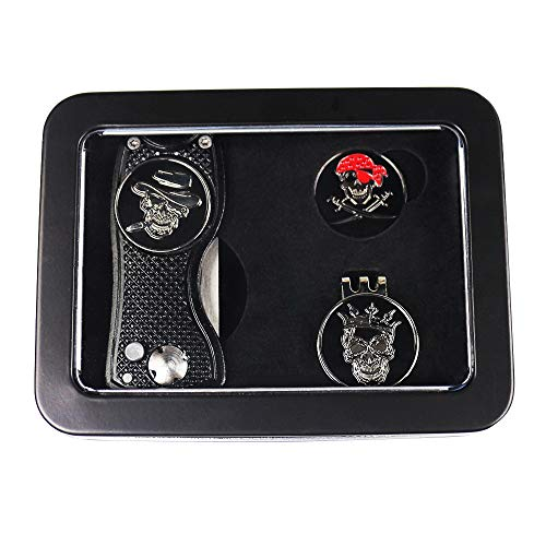GOLTERS Golf Divot Tool Ball Markers Hat Clip Gift Sets in Tin Box (Skull) ()